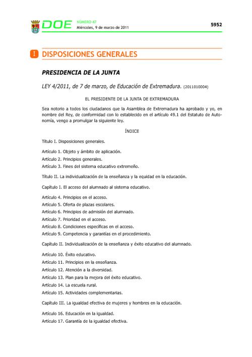 Ley de Educación en Extremadura