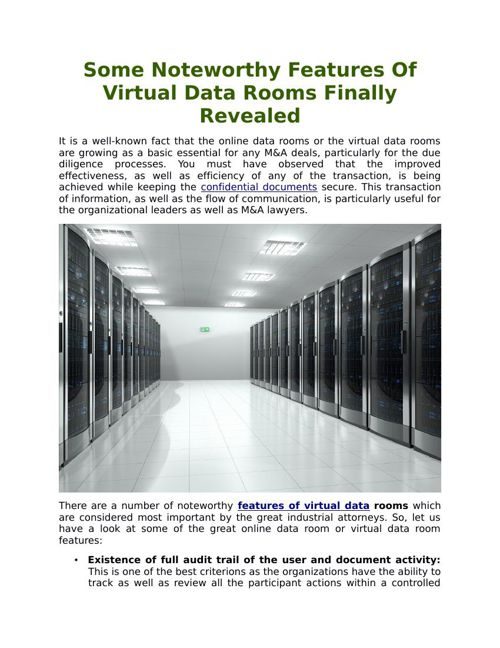 Some Noteworthy Features Of Virtual Data Rooms Finally Revealed