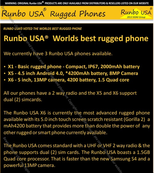 Runbo USA Rugged Phones