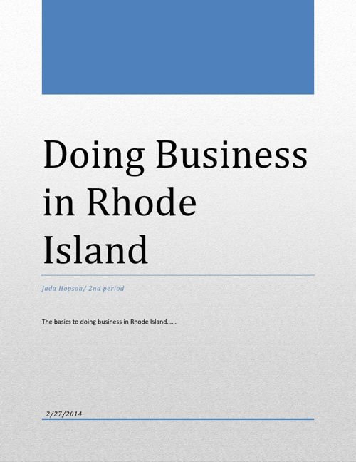 Doing Business in Rhode Island PDF