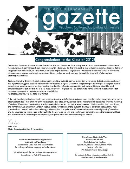 Gazette Spring 2012