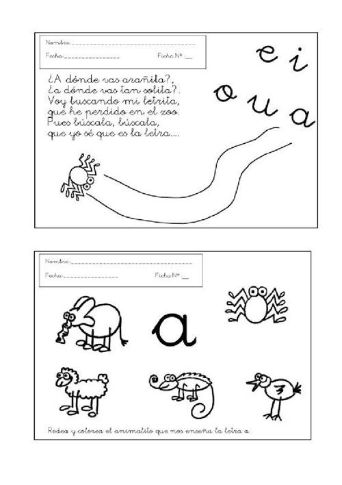Fichas con actividades de la letra A