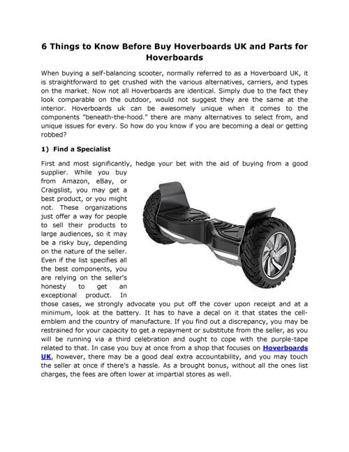 6 Things to Know Before Buy Hoverboards UK and Parts for Hoverbo