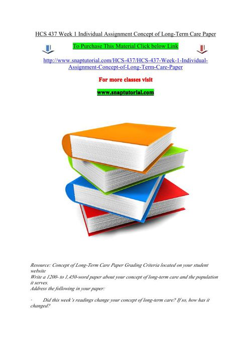 HCS 437 Week 1 Individual Assignment Concept of Long-Term Care P