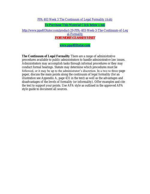 PPA 403 Week 3 The Continuum of Legal Formality (Ash)