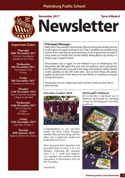 Term 4 Week 8 Newsletter