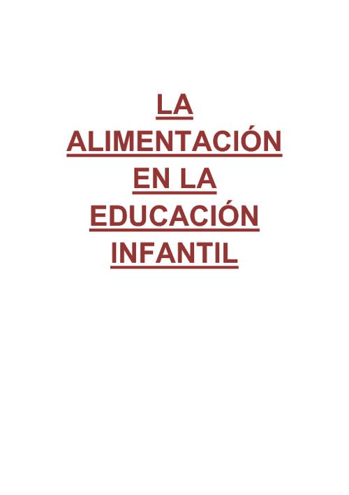 LA ALIMENTACIÓN EN LA EDUCACIÓN INFANTIL