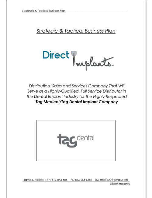 Direct Implants Business Plan
