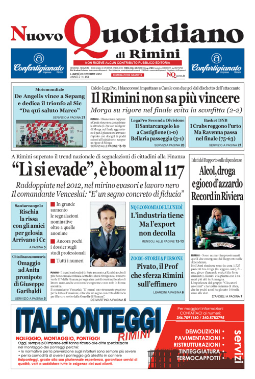 Nuvo Quotidiano di Rimini del 22 ottobre 2012