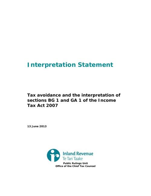 IRD - Interpretation Statement Tax Avoidance