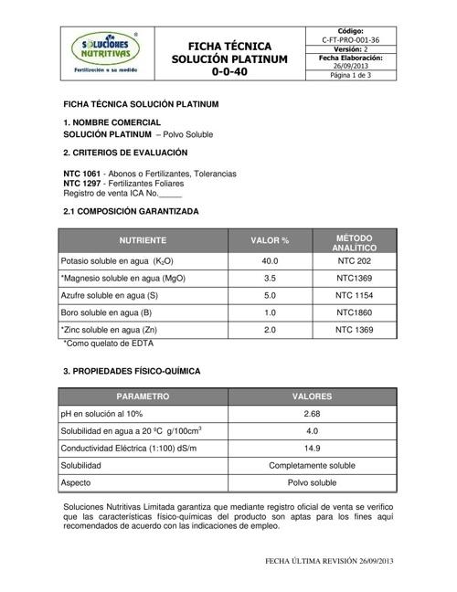 SOLUCIÓN PLATINUM - Ficha Tecnica