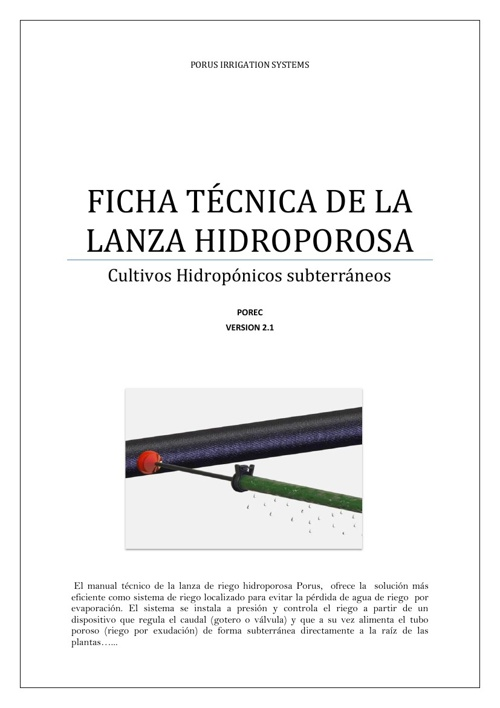LANZA DE RIEGO HIDROPOROSA PORUS