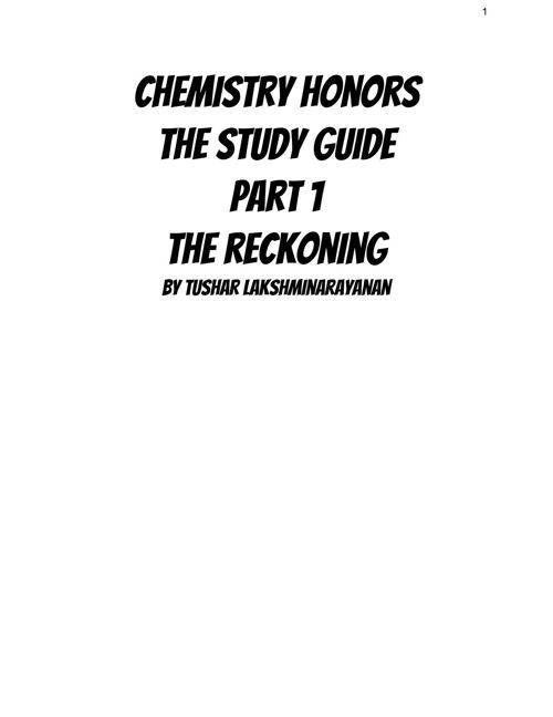 Chemistry Honors Study Guide Midterm PART 1