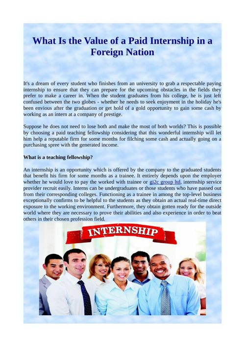 What Is the Value of a Paid Internship in a Foreign Nation