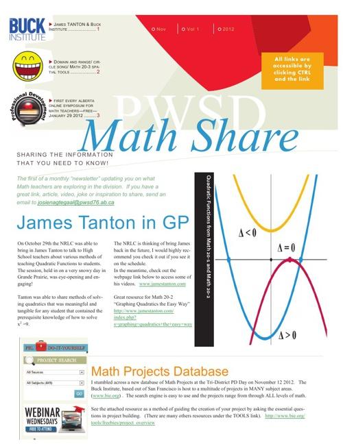 PWSD Math News November 2012