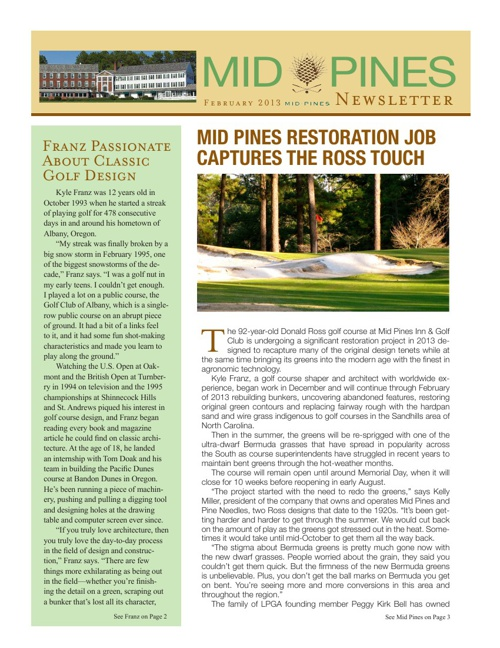 Mid Pines Restoration Newsletter