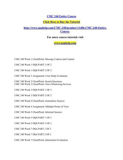CMC 240 Entire Course