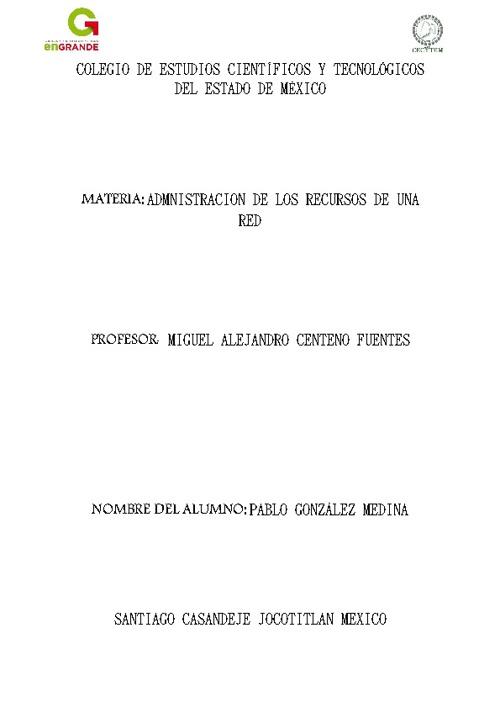 Copy of ADMINISTRACION DE LOS RECURSOS DE UNA RED