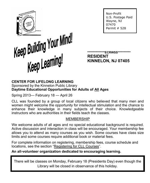 2013 Spring Course Brochure
