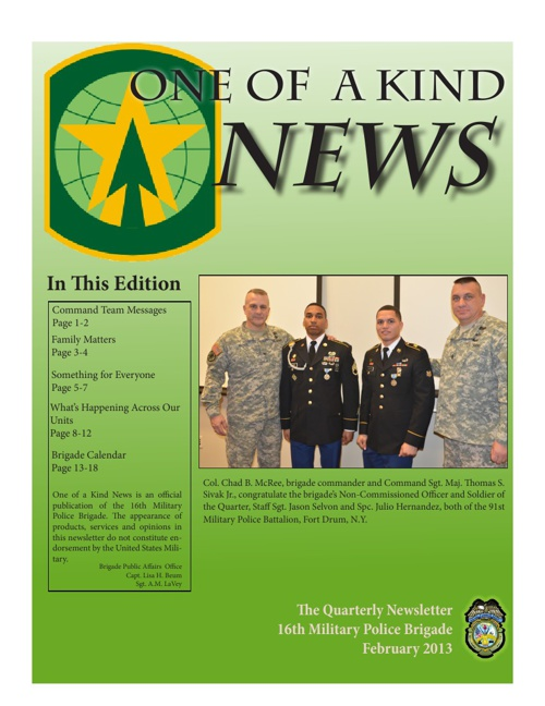 One of a Kind Newsletter