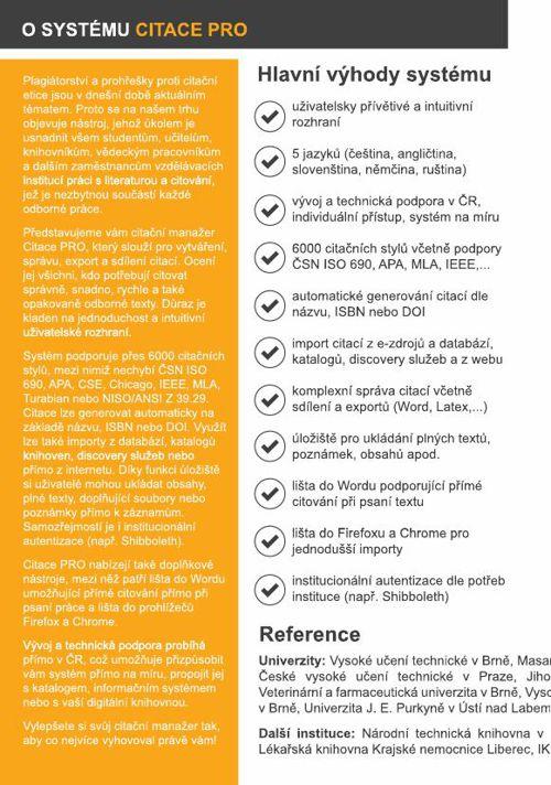 Citace PRO - produktový list (česky)