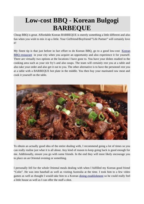 Low-cost BBQ - Korean Bulgogi BARBEQUE