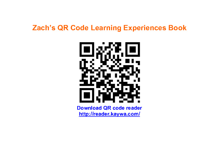 Zach's QR Code Learning Experience Book