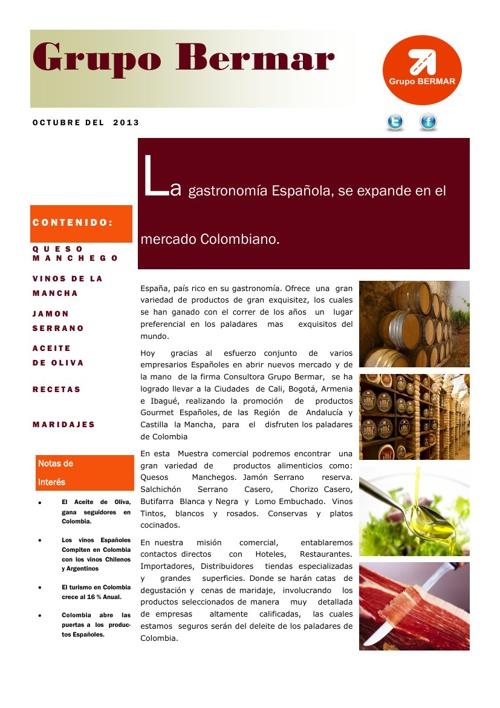 GASTRONOMIA ESPAÑOLA, DESTINO COLOMBIA