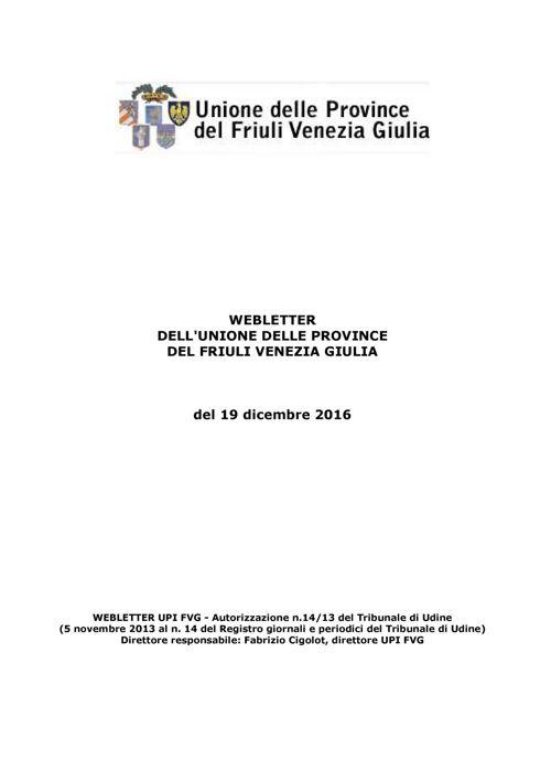 Webletter UPI FVG del 19/12/2016