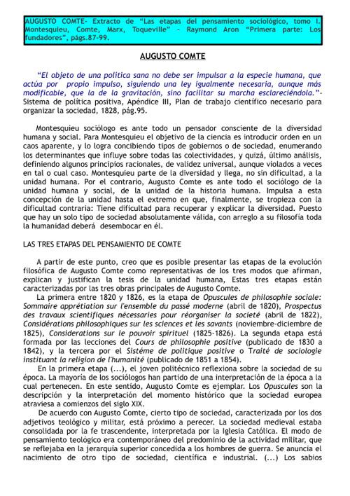 Comte, Las etapas del pensamiento sociologico- R.Aron- Parte A