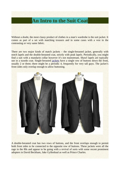 An Intro to the Suit Coat