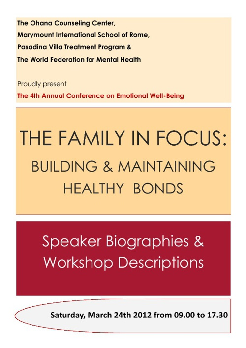 The Family in Focus: Speaker Biographies & Workshop Descriptions