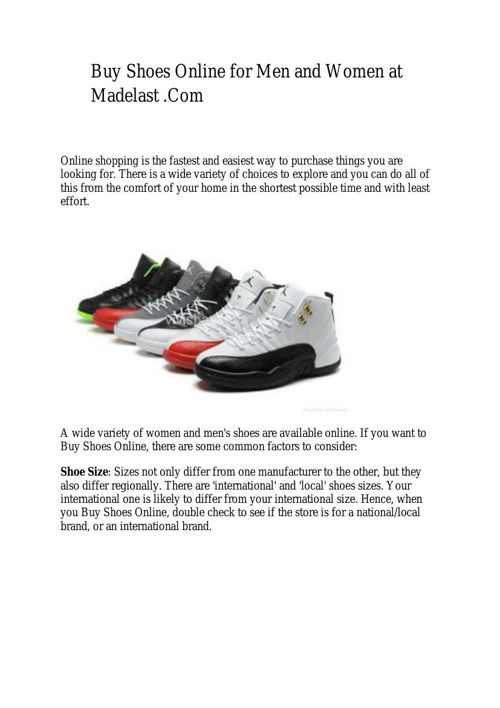 Buy Shoes Online for Men and Women at Madelast .Com