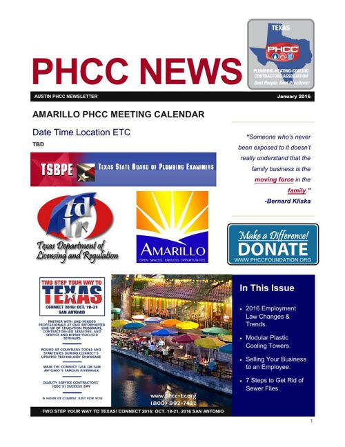 AMARILLO PHCC JANUARY 2016 NEWSLETTER