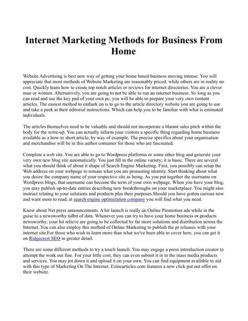 Internet Marketing Methods for Business From Home