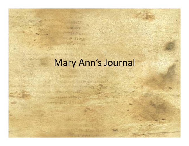 Mary Ann's Journal