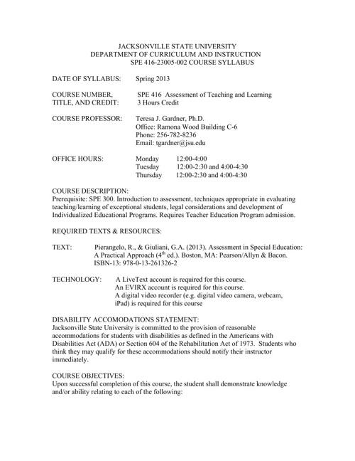 SPE 416 Syllabus Spring 2013