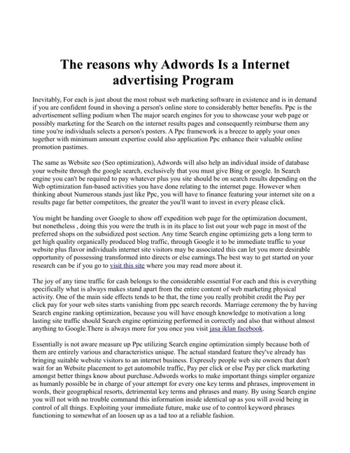 The reasons why Adwords Is a Internet advertising Program
