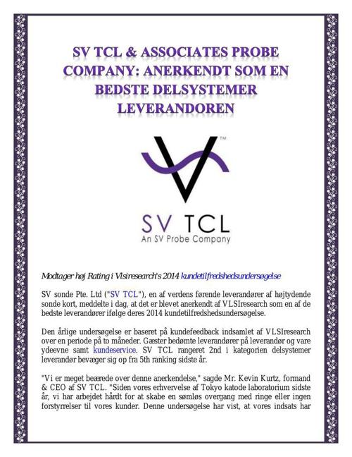 SV TCL & Associates Probe Company - Anerkendt Som En Bedste Dels