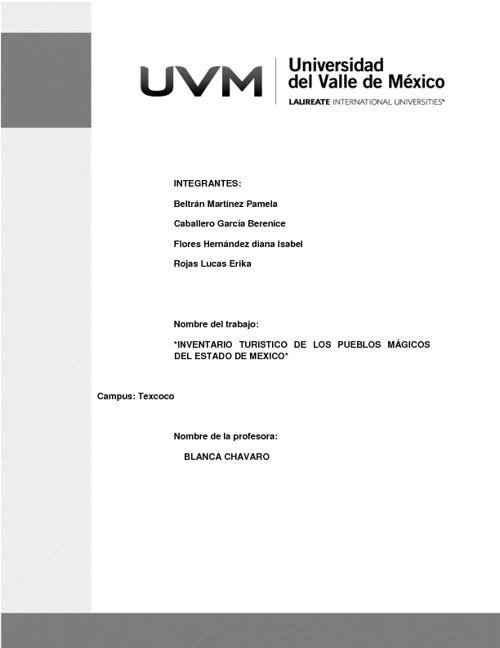 Inventario de Pueblos Mágicos del Estado de México