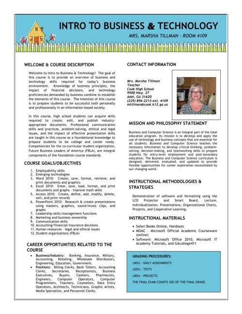 Mrs. Tillman's IBT Syllabus