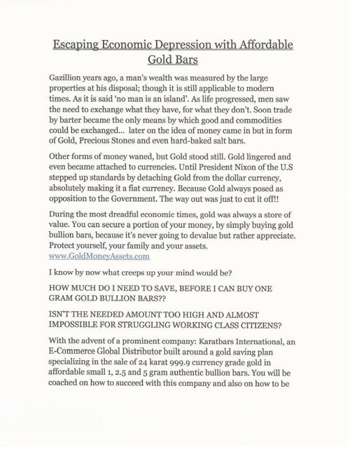 Gold Money Assets - Make Money Online GMA_article