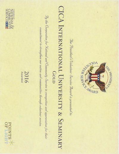 CICA International University & Seminary- Presidential GOLD AWAR