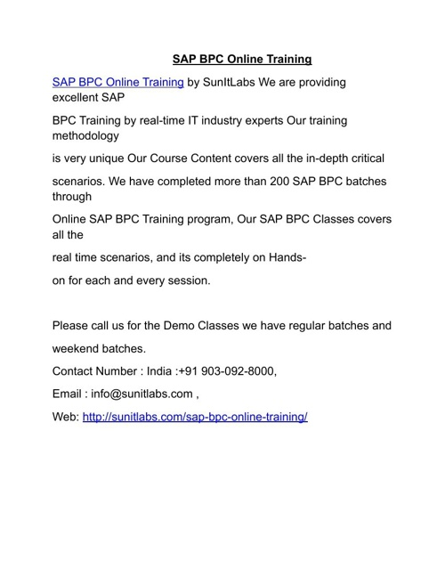 SAP BPC Online Training by Professional Experienced Trainers in