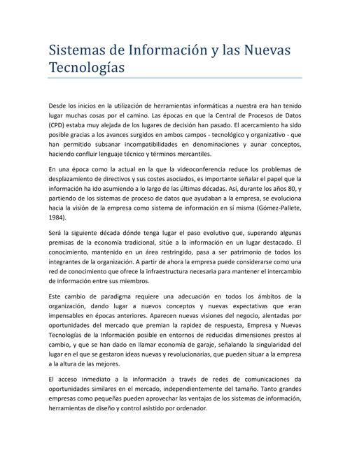 SI y las nuevas tecnologias