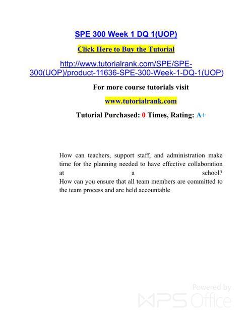 SPE 300 Potential Instructors / tutorialrank.com
