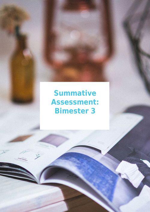 Summative assessment: Bimester 3