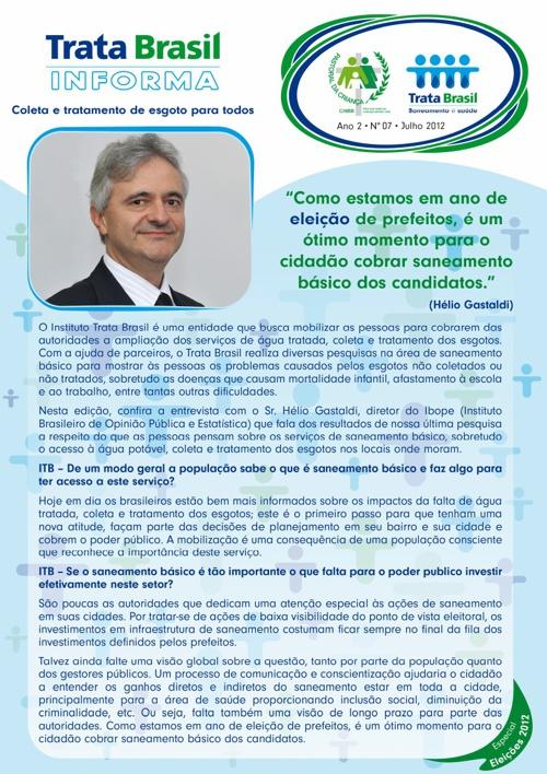 7ª Edição do Boletim Trata Brasil / Pastoral da Criança
