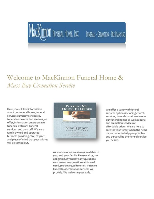 MacKinnon Funeral Home and Cremation Serving Eastern MA