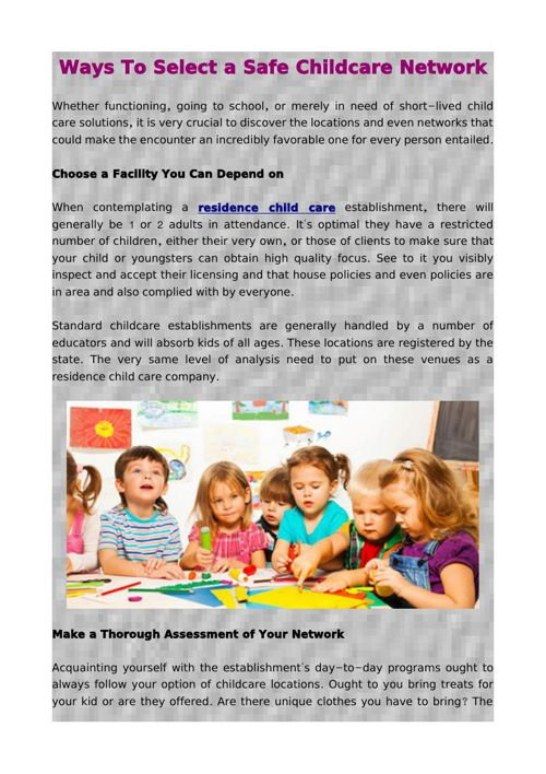 Ways To Select a Safe Childcare Network